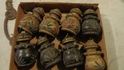 """10 Vintage Wooden Finial End Caps Painted 3.5'"""" Tall Base 1 1/2"""""""