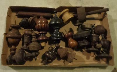 """Antique Wooden Finial End Caps Architectural Pieces Lot of 12 Size from 2 to 5"""""""