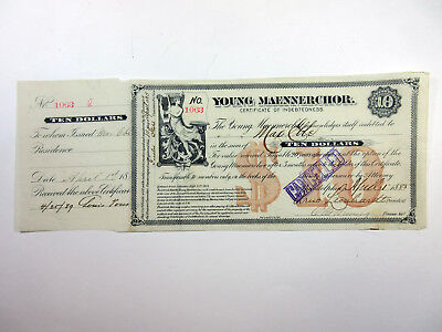Young Maennerchor, 1883 I/C $10 Certificate of Indebtedness, Fine-VF