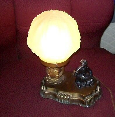 Figural Seated Arab Art Deco  Orientalist Lamp Frosted Glass Shade Globe C.1920
