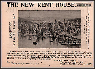 1893 B Ad  Hotel The New Kent House Chautauqua Summer Athens