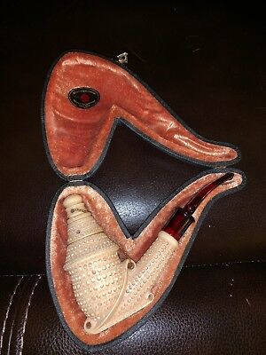 Servi-Meerschaum Hand Carved Block Pipe Fitted Case Turkey! Unused