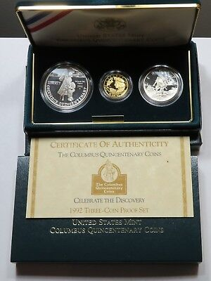 1992 U.S. Mint Columbus Quincentenary Gold & Silver 3 Coin Proof Set Box & COA