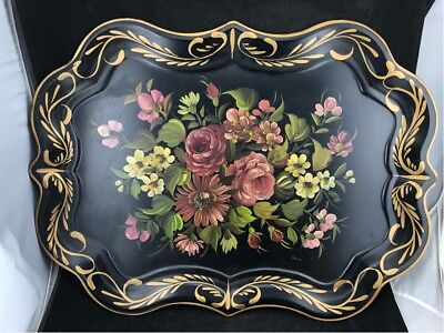"""Large Vintage Toleware Floral Nashco Tole Metal Painted Tray 19 1/2"""" X 27"""""""