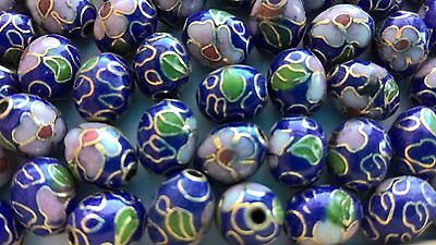 200+ Vintage Cloisonne 9x7mm Oval Eggs—Navy with Pink and Green Floral Accent