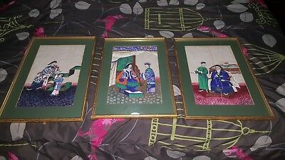 Antique 19th c. set of 3 Chinese Pith Paintings~framed in Historic Linden Row VA