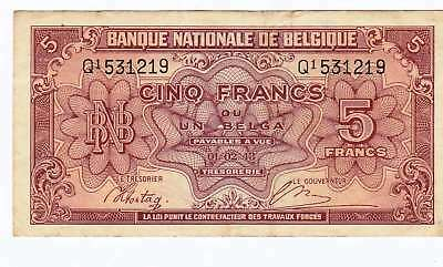 Belgium 5 Francs 1943 WW2 banknote Pick 121 currency note Occupied 3rd Reich