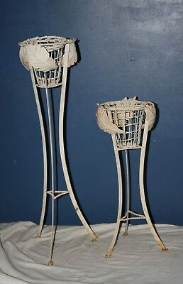 Vintage Pair Of White Wrought Iron Sculpted Leaf Planter Stands -Garden -Cottage