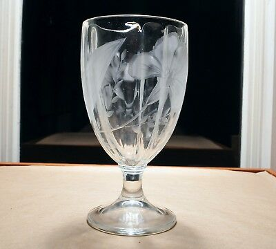 1800s EAPG Engraved FLORAL Etched Ground ANTIQUE Mold Blown Stemmed GOBLET Glass