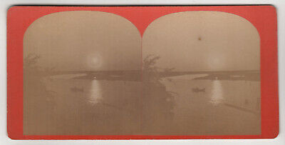 Rare BEAUFORT SOUTH CAROLINA Stereoview 1860s SC Moonlight View of Creek STORE
