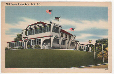 ROCKY POINT RHODE ISLAND Cliff House PC Postcard WARWICK Amusement Park RI