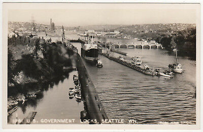 SEATTLE WASHINGTON RPPC RP Real Photo Postcard GOVERNMENT LOCKS Ballard SALMON