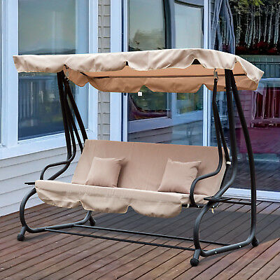 Swing Chair Garden Hammock Convertible Canopy Bed 3 Seater Steel Beige Patio