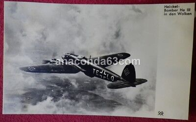 German WW2 Era Postcard Photocard Luftwaffe Heinkel He 111 Aircraft Bomber