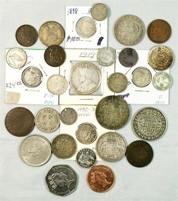 Lot of 30 British/British Commonwealth Coins - Incl Silver Coins (1843-1987)