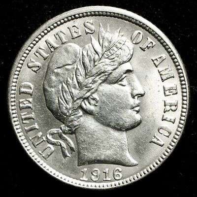 1916 Barber Dime - UNC Detail - 10c Silver - Uncirculated