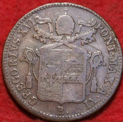 1836 Italy Papal States 1 Baiocco Foreign Coin