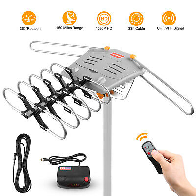 HDTV 150 Mile 1080P Outdoor Amplified Antenna 360 Rotor Digital HD TV VHF FM UHF