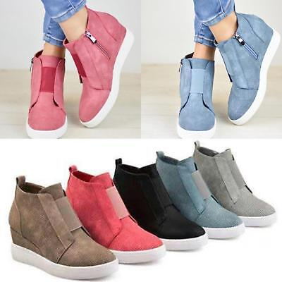 a335d43782 Womens Hidden Wedge Low Mid Heel Ankle Boots Sneakers Trainers High Top  Shoes