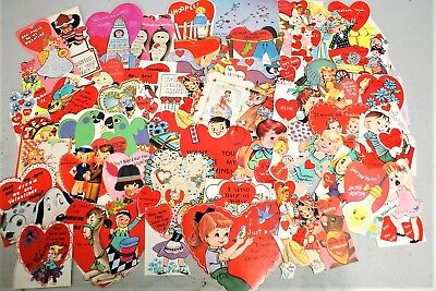 Lot Of 60 Nos Vintage Childrens Die Cut Valentines, Great For Use Or Crafts