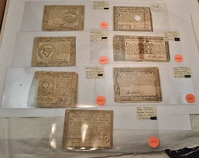 Lot (7) Colonial Continental Currency Notes 1776 $4 Dollars Philadelphia 1778 $8