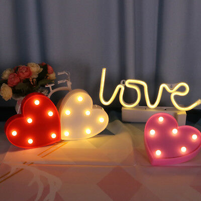 LED Table Night Lights Lamp Loving Heart Home Bedroom Party Decoration Desk Lamp
