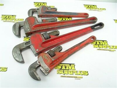 """4Pc Lot Of Heavy Duty Pipe Wrenches 10"""" & 14"""" Fuller Great Neck Ridgid"""
