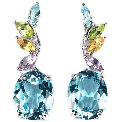 Real Multi Color Topaz, Citrine, Amethyst & Peridot Sterling 925 Silver Earring