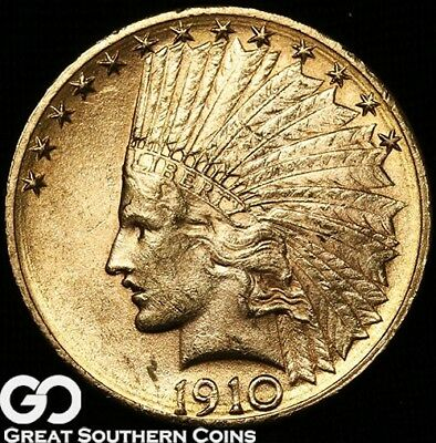 1910-D Gold Eagle, $10 Gold Indian, Very Nice ** Free Shipping!