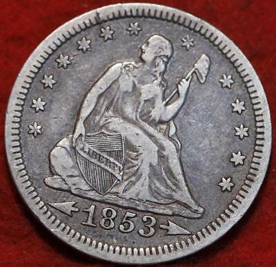 1853 Philadelphia Mint Silver Seated Liberty Quarter with Arrow and Rays