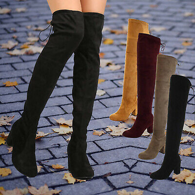 6a6f50f66758 Women s Over The Knee Boots Stretchy Thigh High Chunky Block Heel Riding  Boots