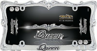 Queen Chrome License Plate Tag Frame for Auto-Car-Truck + Bling Screw Bolt Caps