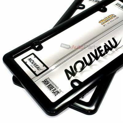 2 Plain Plastic ABS Black License Plate Tag Frames for Auto-Car-Truck