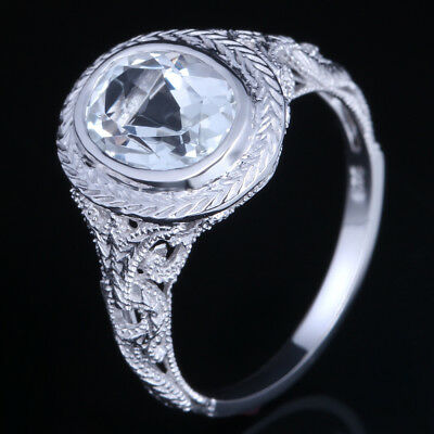 925 Sterling Sliver Vintage Style White Topaz Oval Cut Engagement Unique Ring