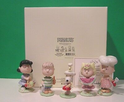LENOX PEANUTS BARBECUE Set NEW n BOX w/COA Snoopy Linus Lucy Sally Charlie Brown