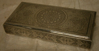 vintage Persian Iran Sterling Silver Cigarette Trinket Jewelry Box hand chased