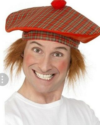 Scottish Fancy Dress Tartan Red Hat With Hair Wig Tam O Shanter