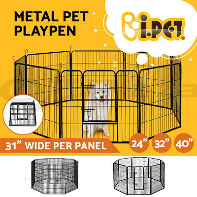 8 Panel Pet Playpen Puppy Portable Exercise Cage Enclosure Fence Dog Play Pen