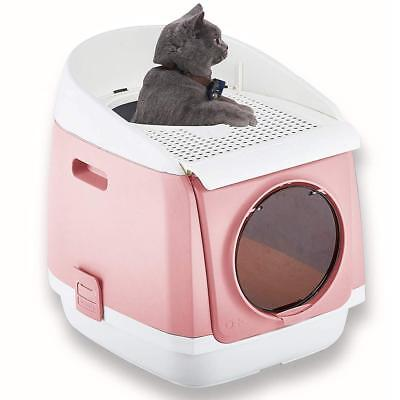 Two Door Entry Cat Litter Box, Easy Clean Fully Enclosed Cat Toilet