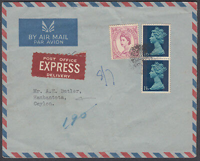 1967 QEII/Wilding Mixed Franking Post Office Express Airmail to Ceylon