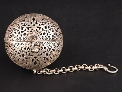 ChinA Tibet Silver Pendant Incense Ball Hollowed Flowers Birds Decoration Gift