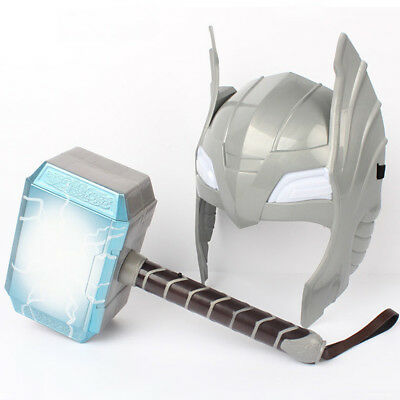 LED Glowing And Sounds Hammer LED Mask For Thor Action Figures Kids Cosplay Toys