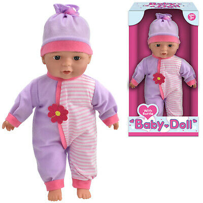 "13"" Baby Doll With Bottle Girls Pretend Play Toy Fun Kids Gift Soft Bodied New"