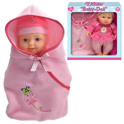 """9"""" Baby Doll With Cosy Soft Blanket Girls Fun Pretend Play Gift Bodied Realistic"""