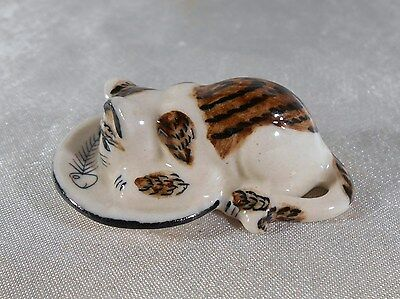 Miniature : Figurine Chat A L'assiette De Poisson En Porcelaine