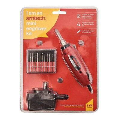 Amtech Mini Engraver Kit Craft Diy Glass Ceramic Metal Plastic Machine Drill New