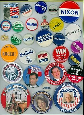 28 Vintage Presidential Political Campaign Pinback Buttons Church Connally Nixon