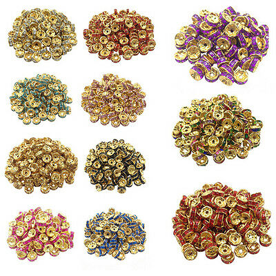 50/100PCS Gold Plated Crystal Round Jewelry Making Loose Spacer Beads Acces