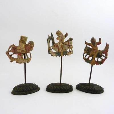 Set Of Three Se Asia Carved Wooden Figures - Warriors On Horseback, 19Th Century