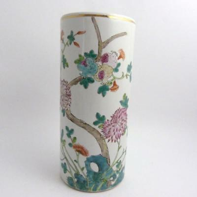 Large Chinese Famille Rose Porcelain Cylindrical Hat Stand, Guangxu Mark To Base
